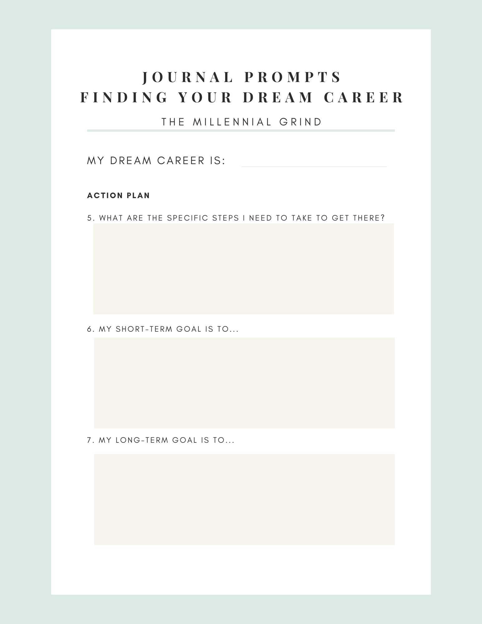 Dream Career Worksheet