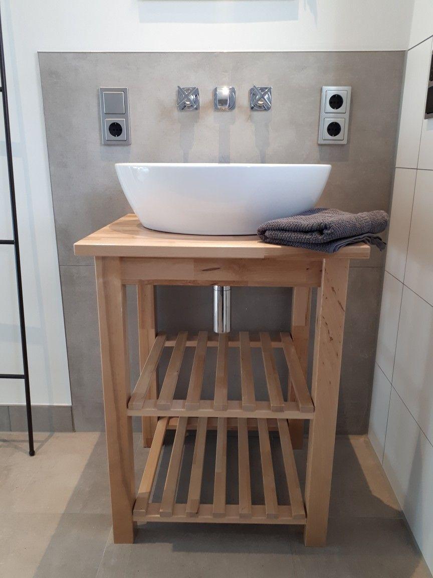 Cool Schwebeschrank Ideen Von Bekväm Servierwagen Als Waschtisch, Oberkante Waschbecken 90cm,