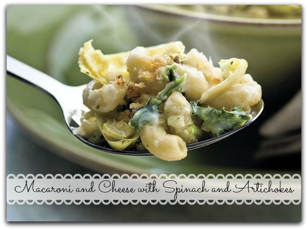 Macaroni and Cheese with Spinach and Artichokes.