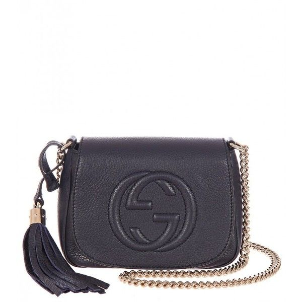 e6e604cc6c137 Gucci Navy Leather Soho Chain Link Shoulder Bag ( 890) ❤ liked on Polyvore  featuring bags, handbags, shoulder bags, bolsas, gucci, purses, navy blue  ...