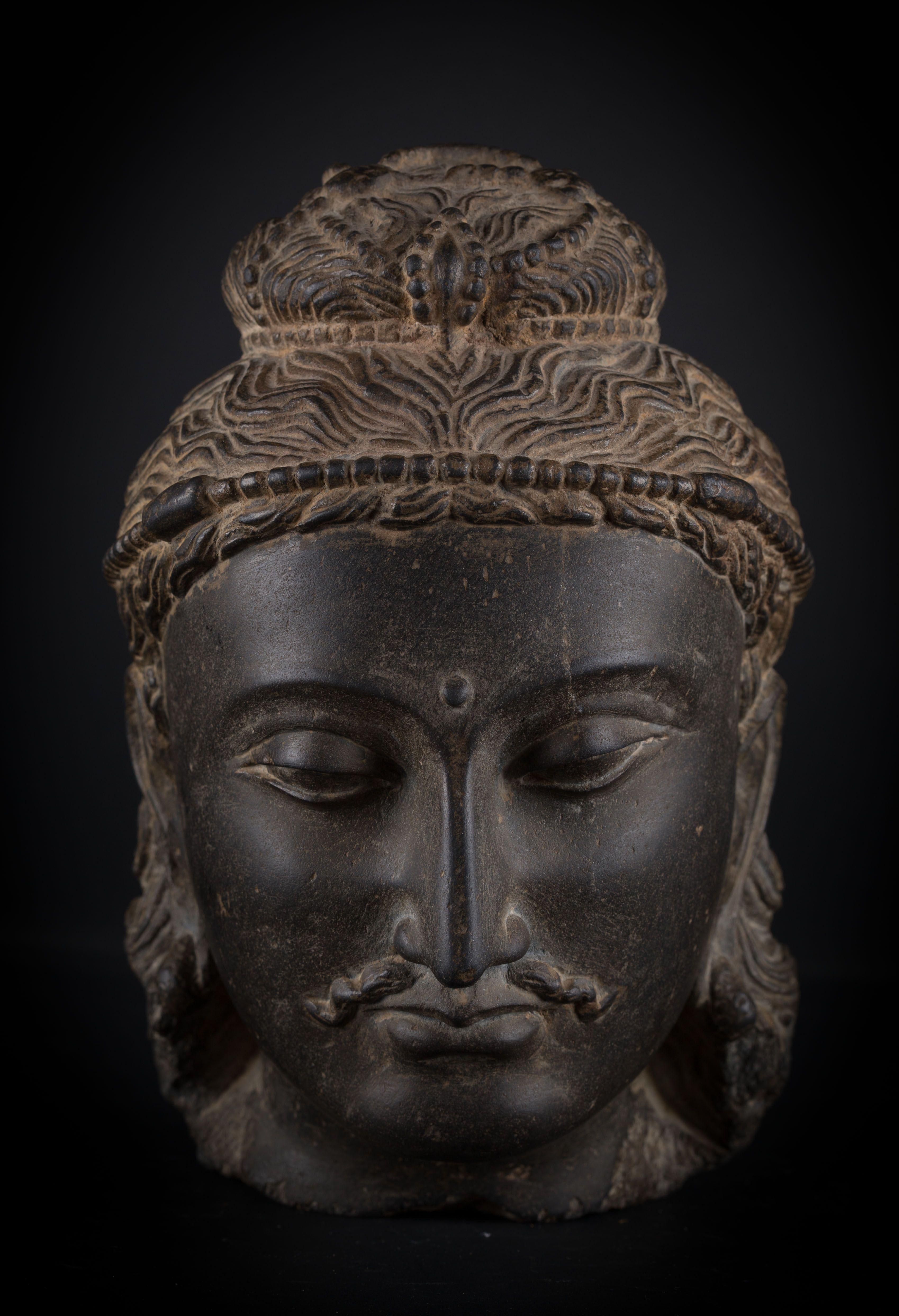 Head of Bodhisattva Gandhara art, northern Pakistan, 3rd-4th century
