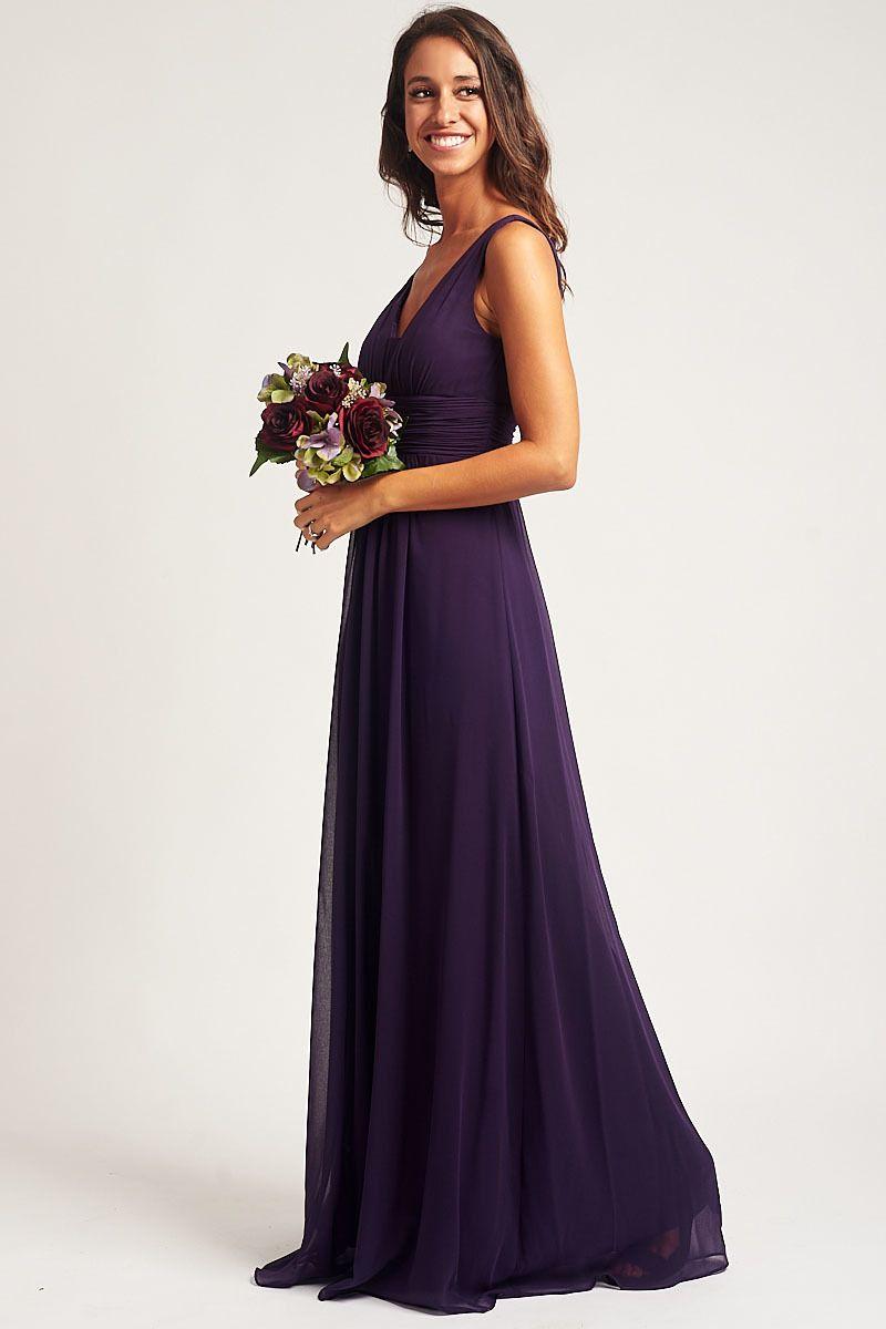 Caroline sleeveless chiffon bridesmaid dress in dark