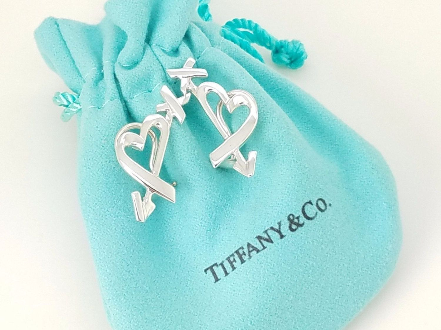 36bced58d RARE: Tiffany & Co Silver Paloma Picasso Loving Heart Struck by Arrow Clip  On Earrings