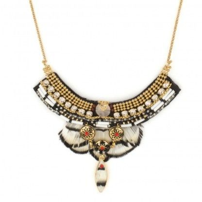 JJ Caprices - Indian Amazon White Feather Necklace by Satellite Paris