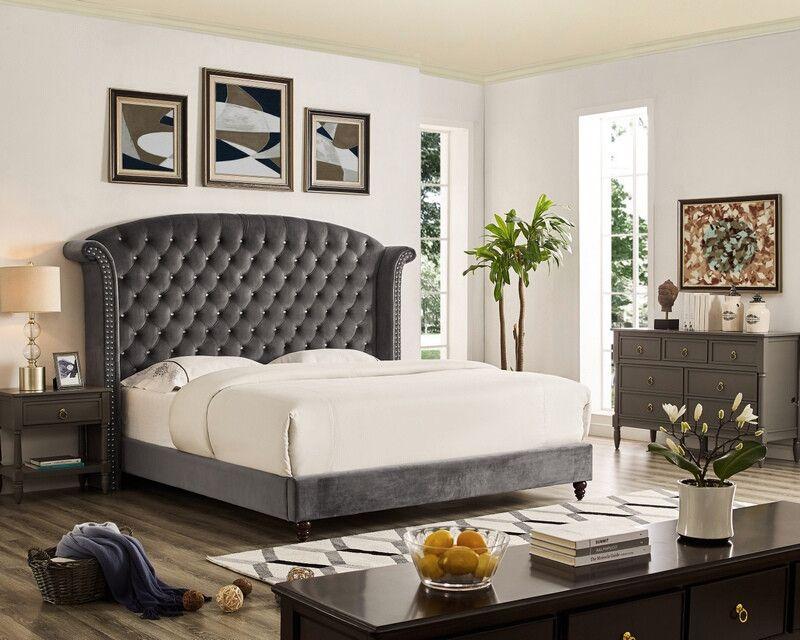 Oah D3029 Sterling Gray Velvet Like Fabric Queen Tufted Bed Frame Set Tufted Bed Frame Furniture Bed Frame