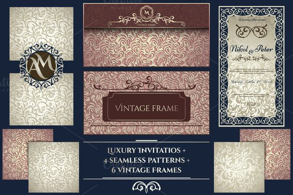 Invitations Collection + 4 Patterns by DeMih on @creativemarket