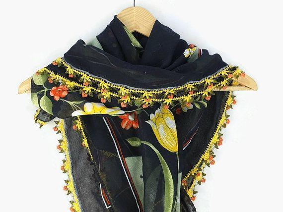 Turkish Oya scarf - black Floral - Crochet Edges - Womens Square Headscarf - Turban Headwrap