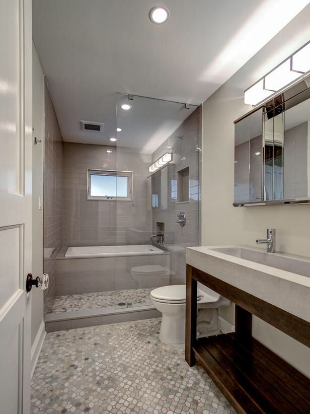 Modern Gray Bathroom With Gl Enclosed Shower And Tub The In This Brooklyn