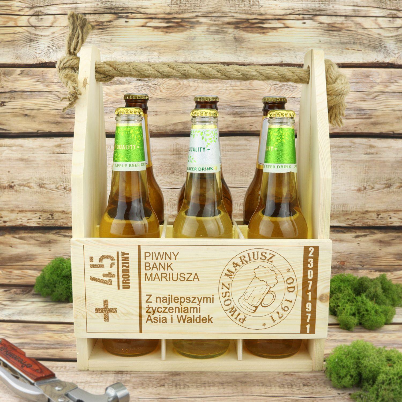 Drewniana Skrzynka Na Piwo Z Grawerem Prezent Urodzinowy Dla