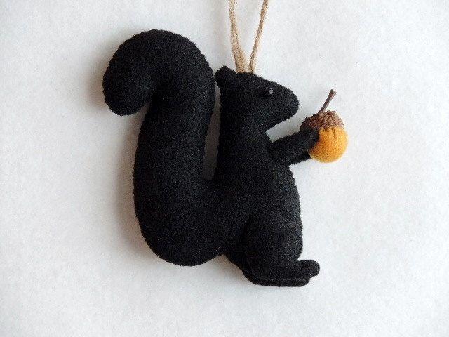 Black Squirrel Felt Animal Ornament Handmade Woodland Fall