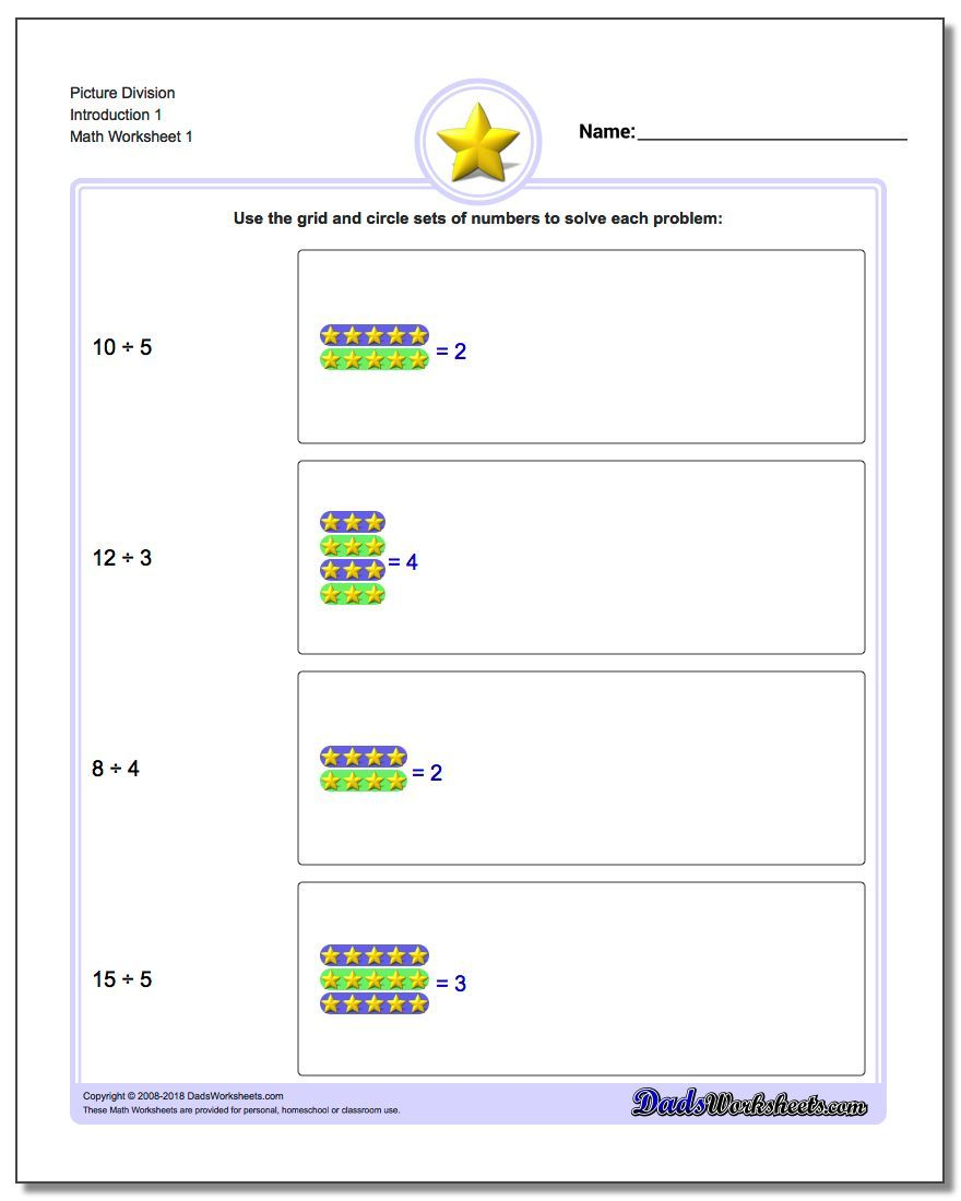 Picture Math Division Worksheet Math Division Worksheets Math Division Division Worksheets