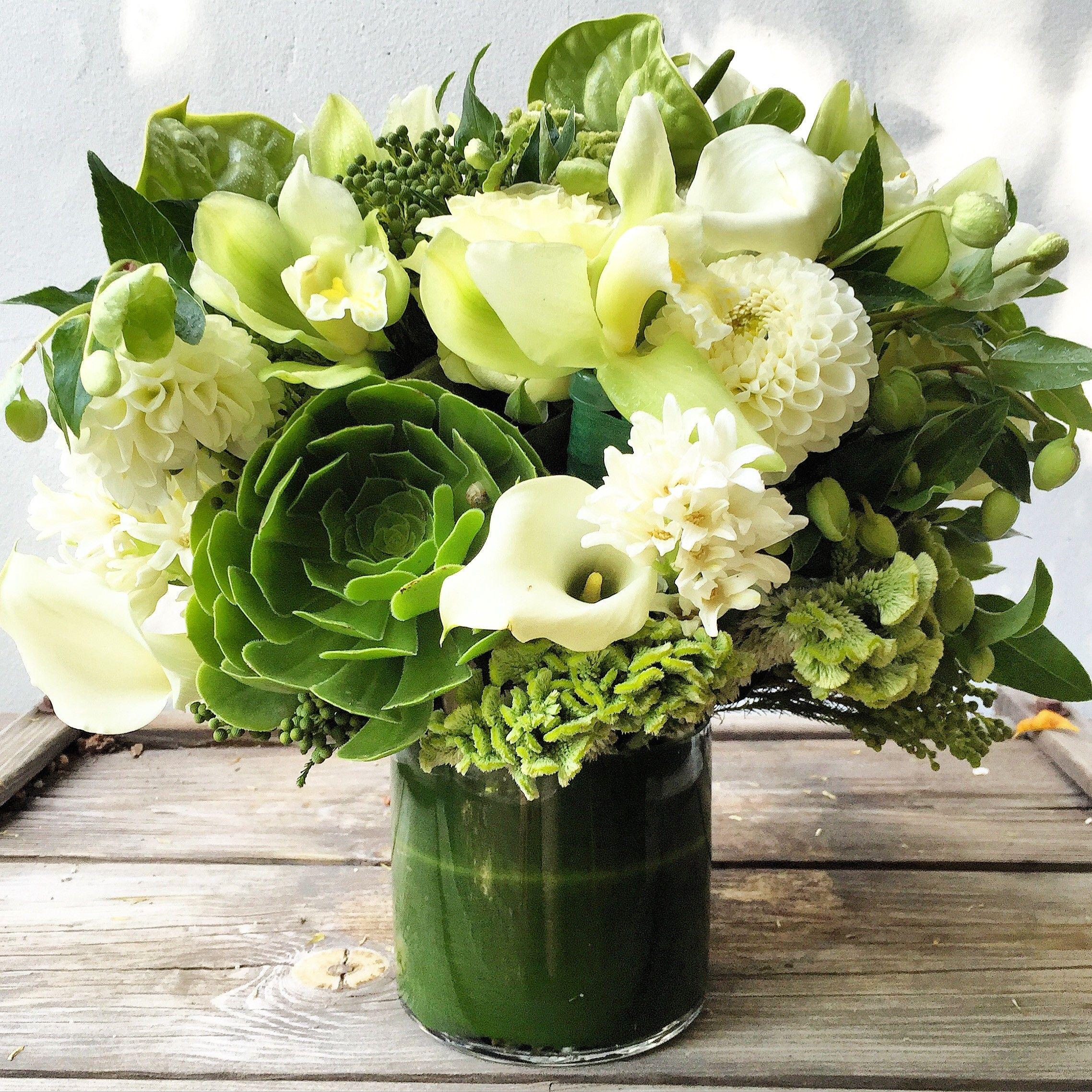 The so fresh so green arrangement calla lilies dahlia and flowers the so fresh so green arrangement in los angeles ca the petal workshop all flowersdahliacalla izmirmasajfo