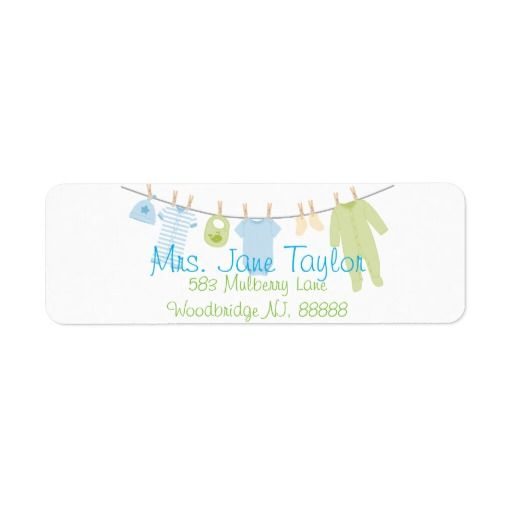 Blue & Green Little Clothes Baby Shower Labels Return Address Label