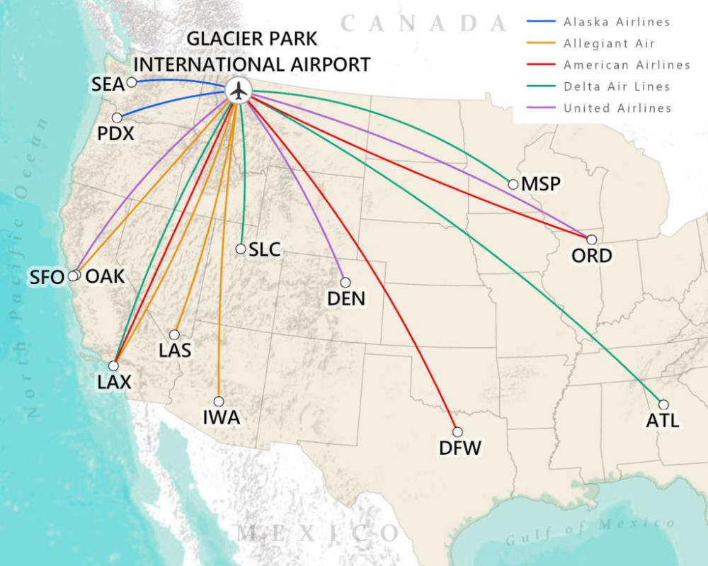 Major Cities Served Glacier International Airport GPIA