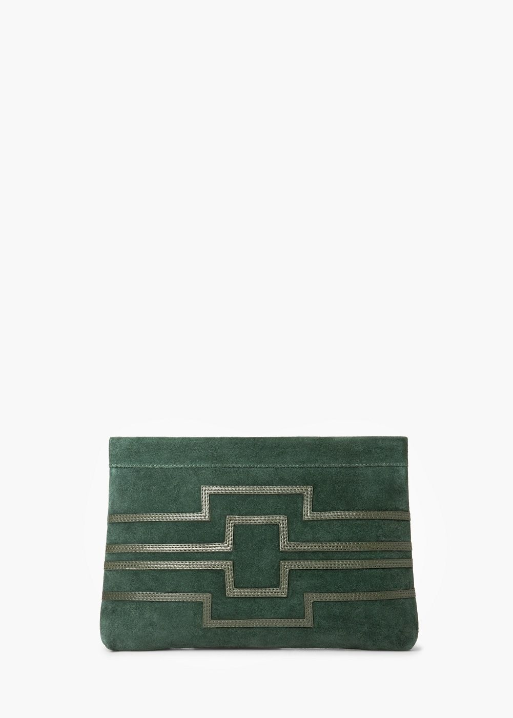 Trimmed suede clutch - Women | MANGO USA