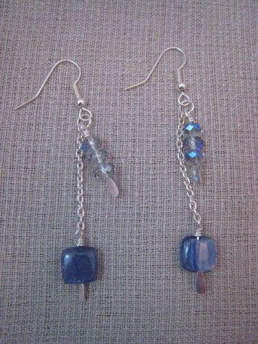 Handcrafted Kyanite & Crystal Dangle Earrings | thesparklingflamingo - Jewelry on ArtFire