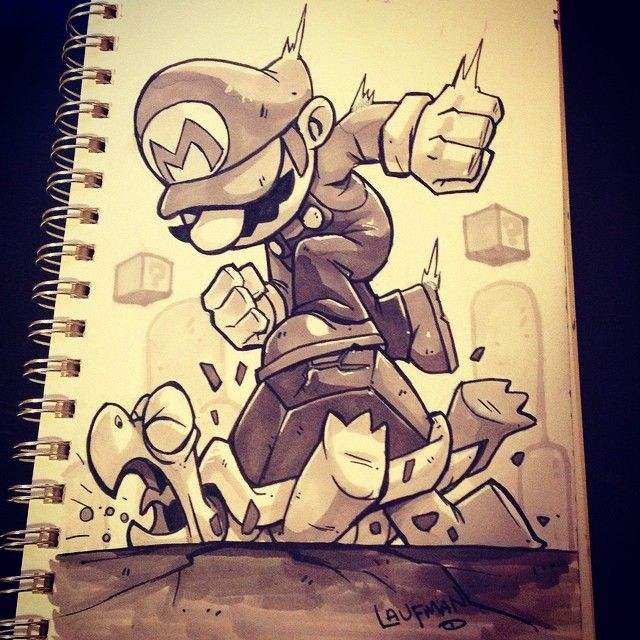 """Derek Laufman on Instagram: """"#inktober Day 30: It's a me!! MARIO!! Thought is complete the Nintendo trilogy for inktober."""""""