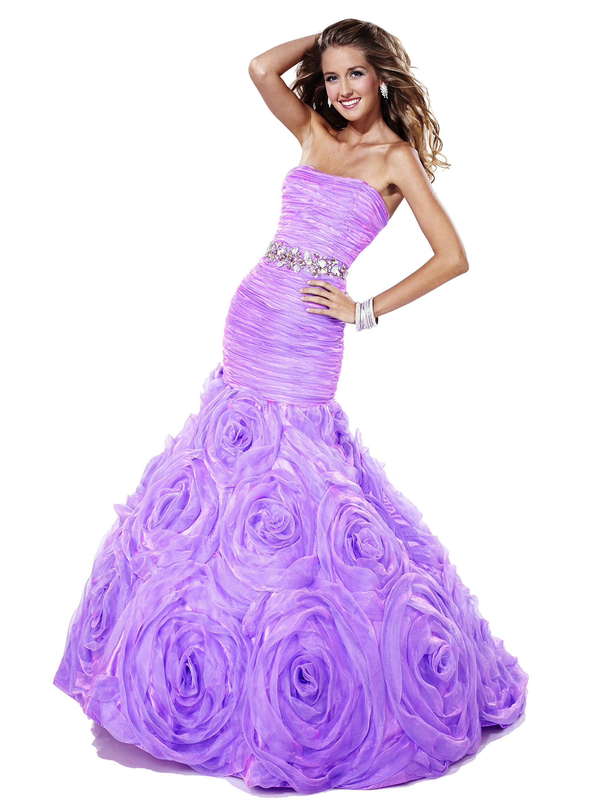 Tiffany designs strapless long mermaid prom dress orchid