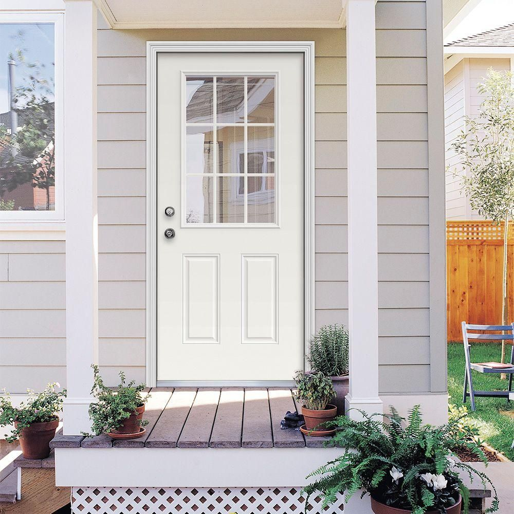 white single front doors. 9 Lite Primed Premium Steel Prehung Front Door White Single Doors O