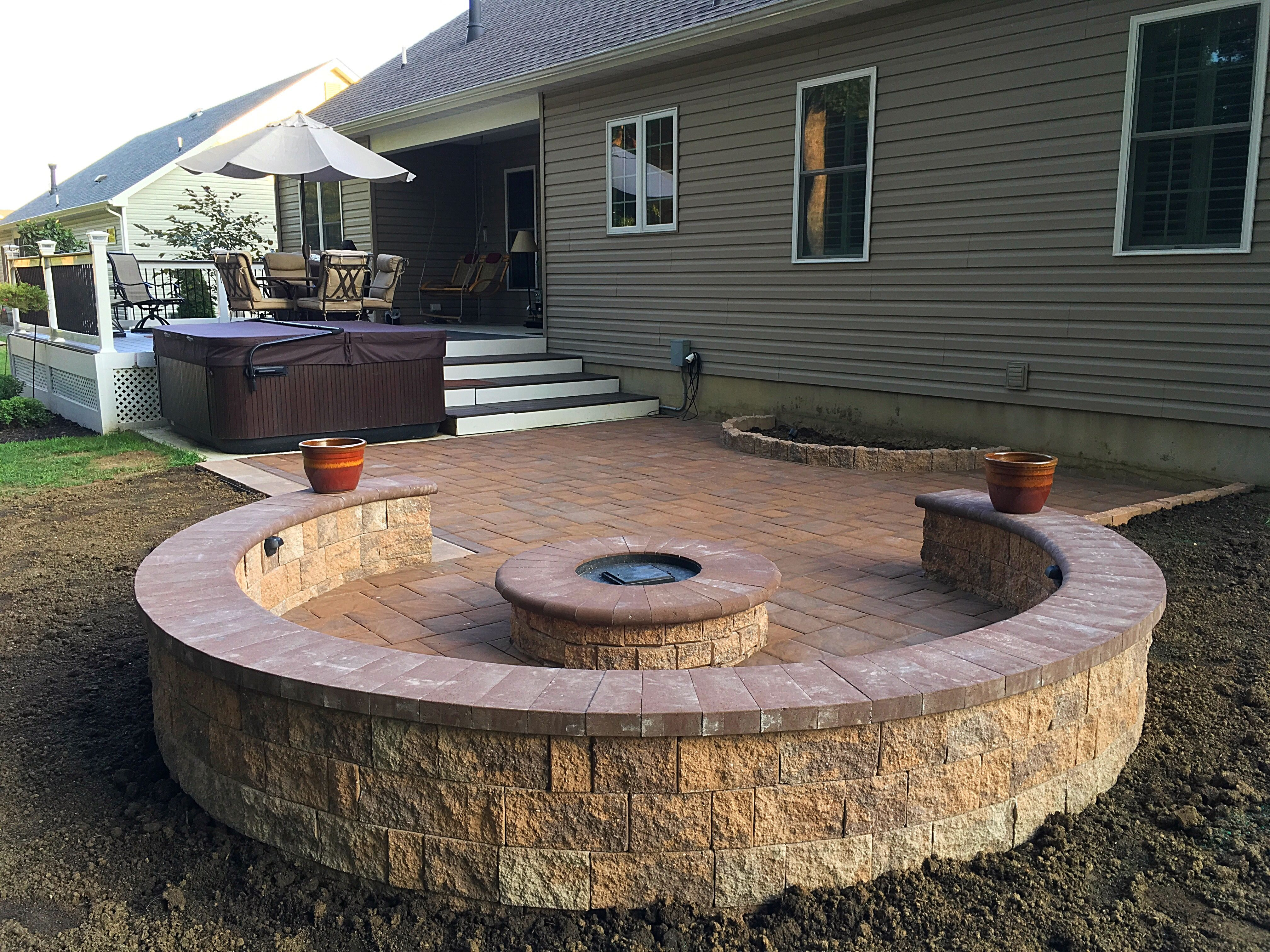 Paver Patio Ep Henry Fire Pit Sitting Wall Deck