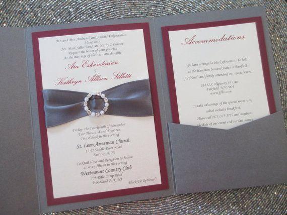 grey and burgundy pocket wedding invitation fall rhinestone and pearl buckle - Coral And Grey Wedding Invitations