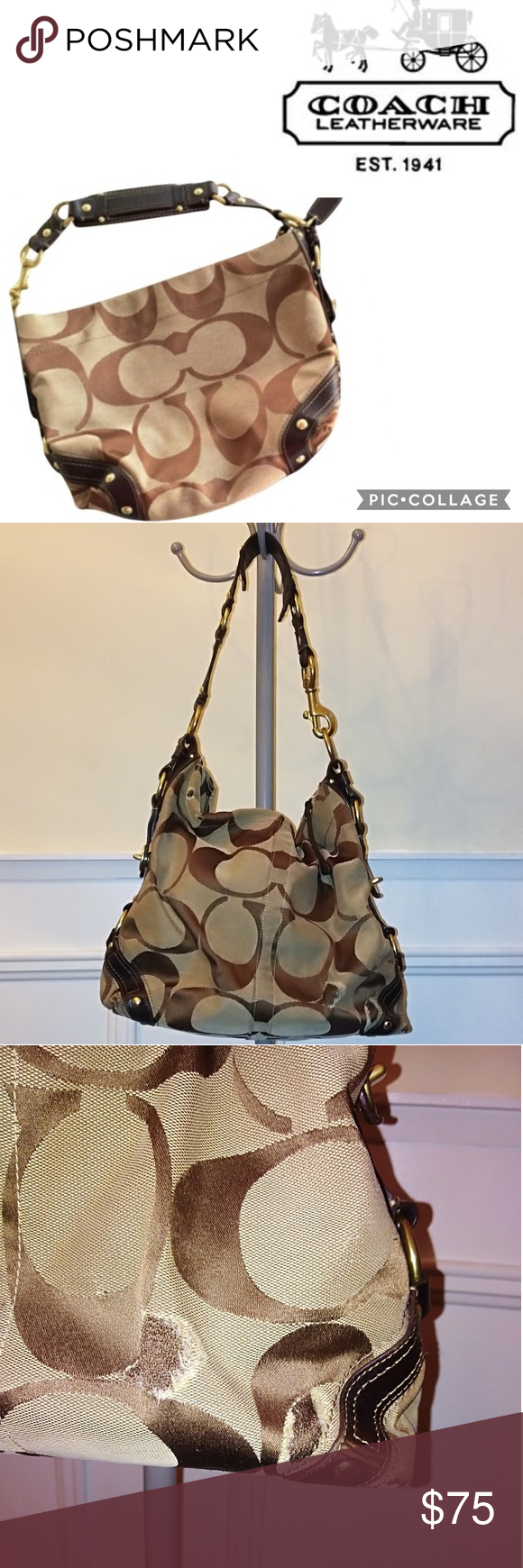 Coach Carly Signature Hobo Handbag Coach Carly Signature Brown and tan Used  fair condition Large bag, fits a lot Some wear on leather not bad. 881a6884b1