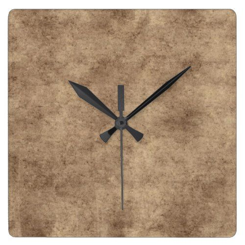 Vintage Parchment or Paper Background Customized Square Wall Clock - clock templates