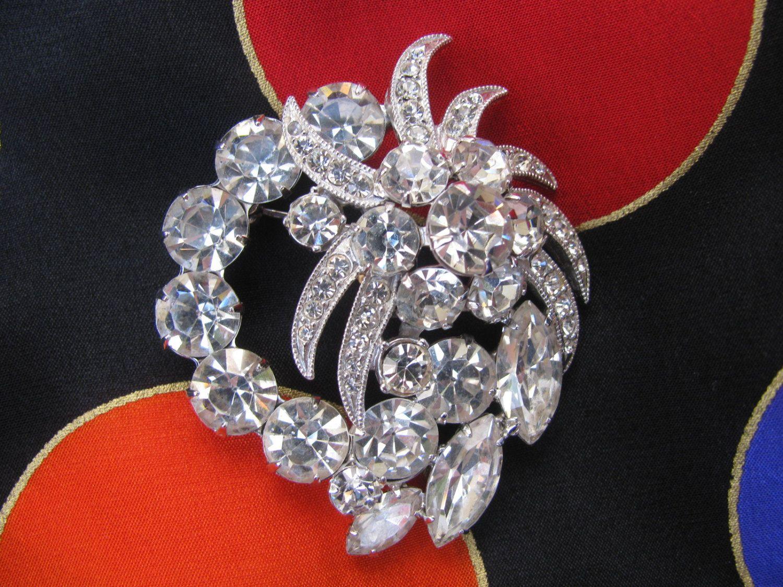 perfect bustle pin.......Vintage Eisenberg Ice Brooch Rhinestones Wedding Brooch Large