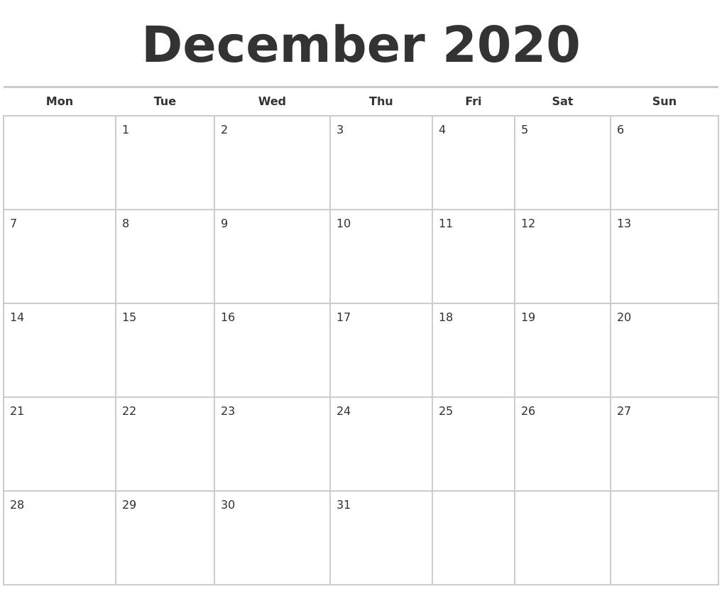 December 2020 Calendars Free 2020 Calendars Free Printable 2020 Monthly Calendars In 2020 Printable Calendar Design Printable Calendar Template Excel Calendar Template