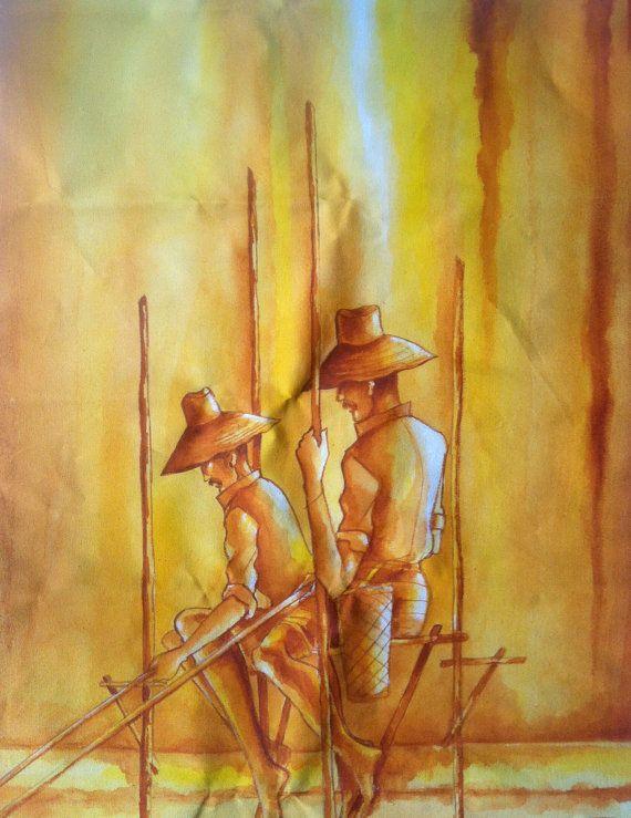 Sri Lankan Fishermen Print Of Acrylic Painting By Oolijewellery