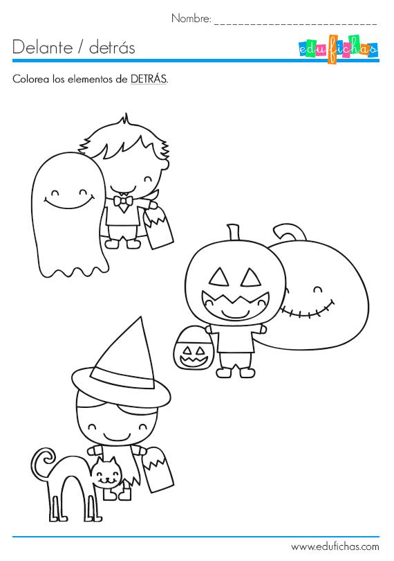 Fichas educativas con dibujos de la fiesta de Halloween para ...