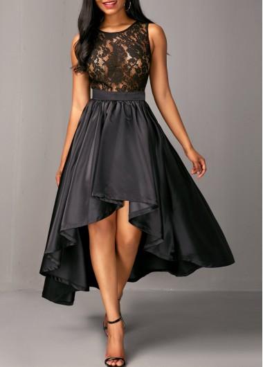 Sleeveless Lace Bodice Black High Low Dress  e16dc56959