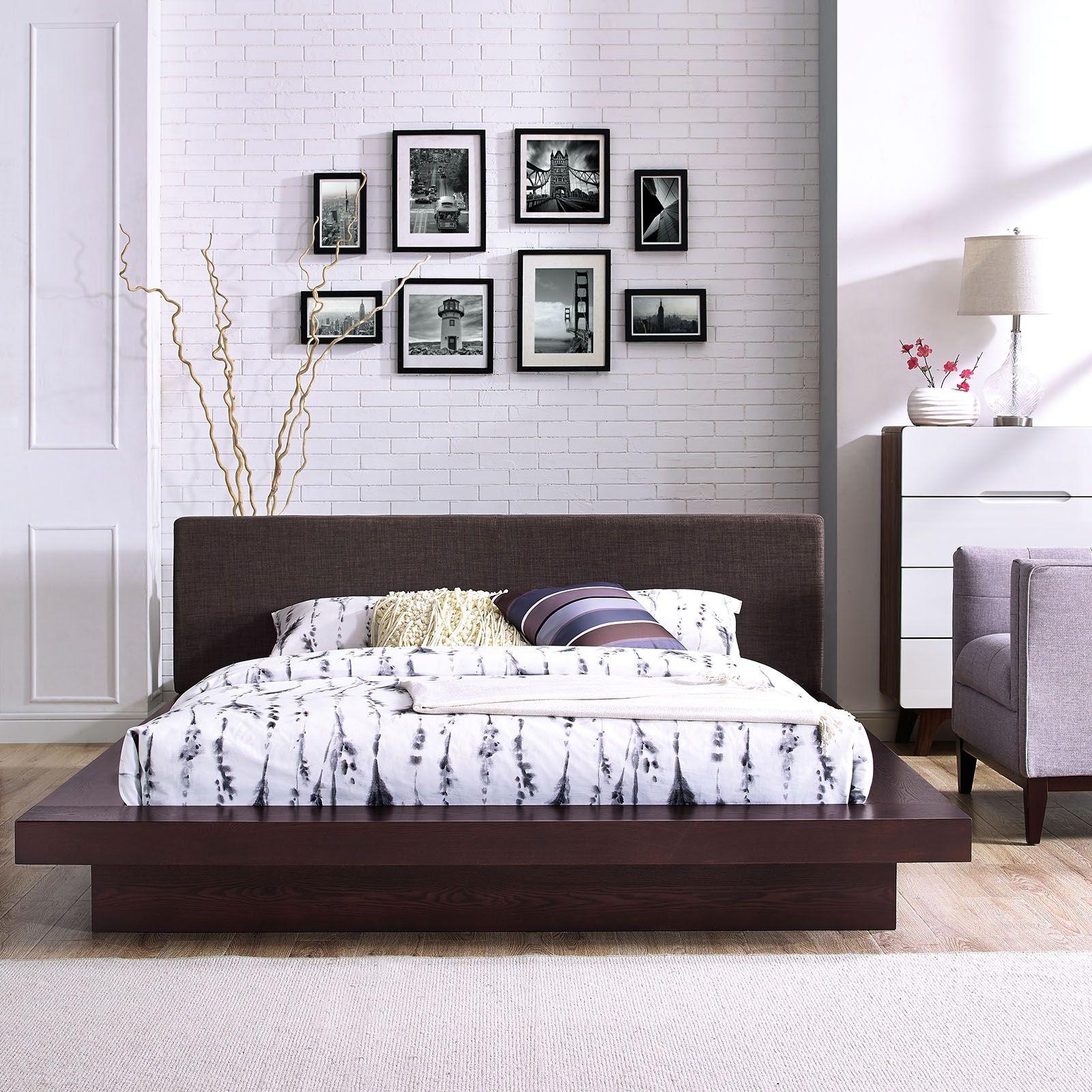 Freja 5721 Cappuccino Queen Platform Bed With Dark Brown Fabric