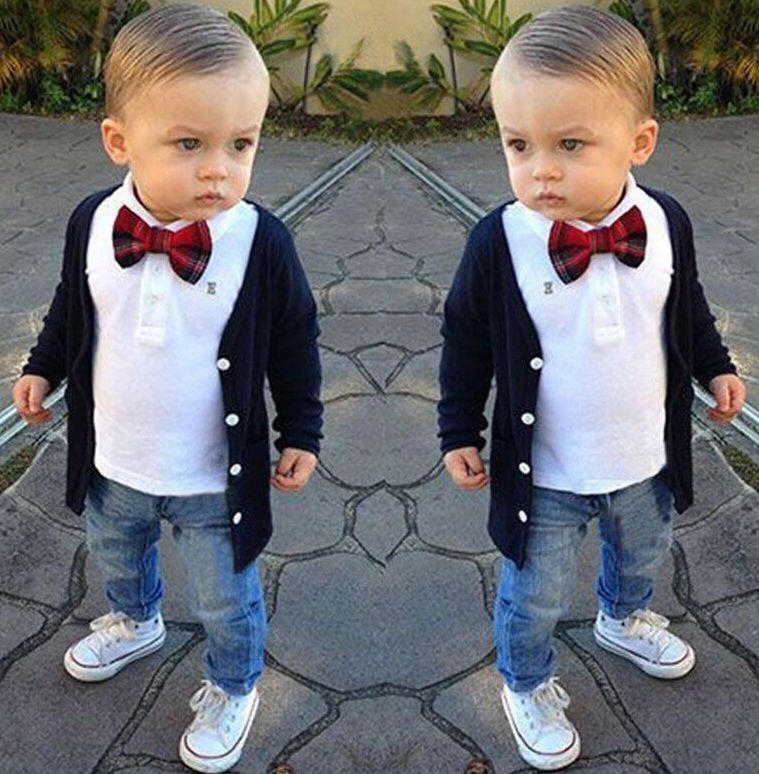 417b90336397c $12.95 - 3Pcs Baby Boys Dress Gentleman Coat/T-Shirt/Denim Pants Set ...