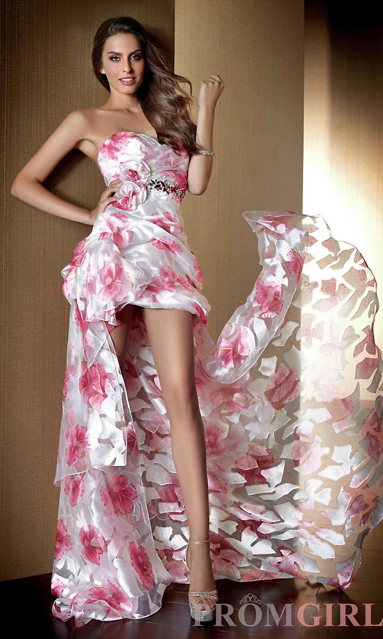 Strapless highlow print dress al pinterest designer