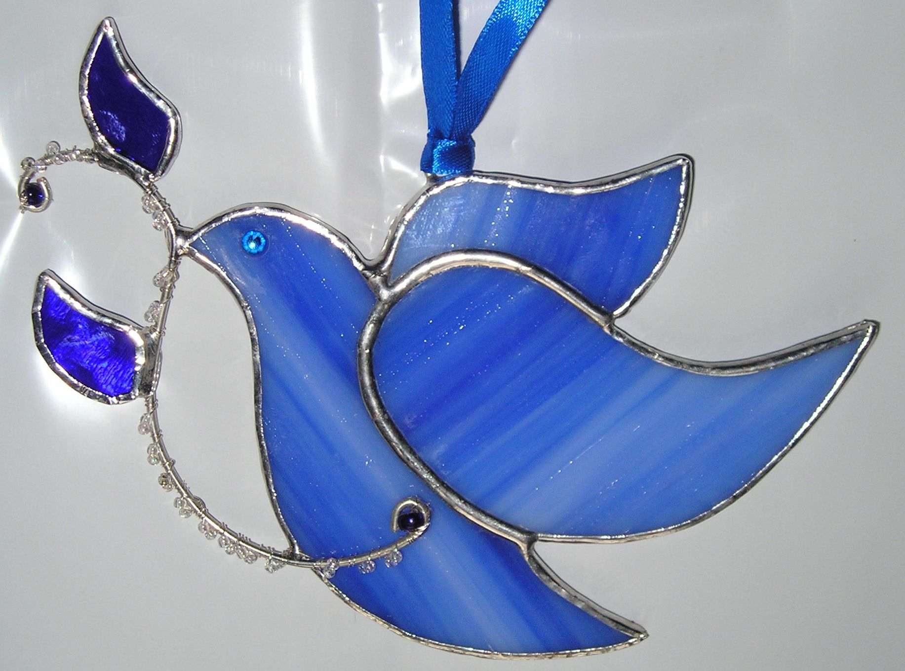 Stained Glass Blue Dove Sun Catcher