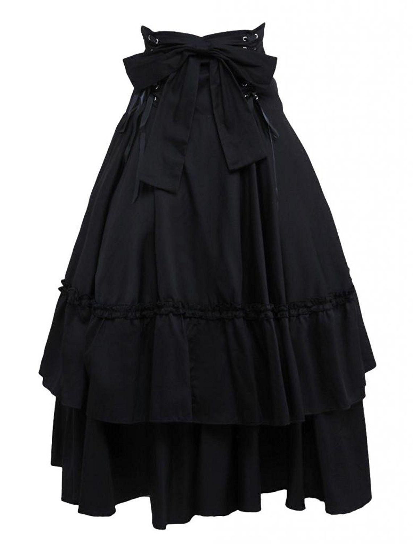 Gothic Lolita Grunge Aesthetic Ruched Ruffles Skirt