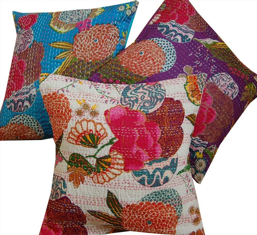 Kantha stitch cushion cover white moderncontemporary