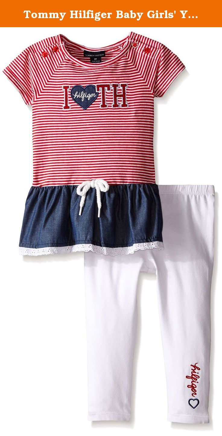9a513b60ec1 Tommy Hilfiger Baby Girls  Yarn Dyed Striped Chambray Tunic and White  Legging