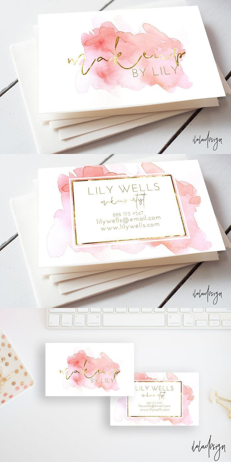 makeup artist business cards. pink and gold foil