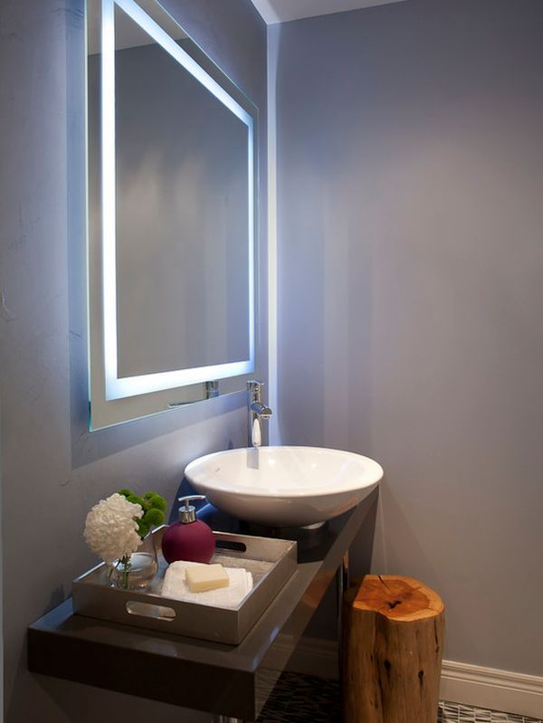 Modern Powder Room Stump Chair And Mirror Home Decorating Trends Homedit Modern Bathroom Mirrors Bathroom Mirror Lights Modern Powder Rooms