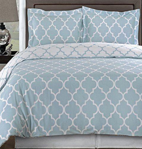 Modern Duvet Geometric Tiles Patterned Light Blue Cotton Comforter Cover  And Sham Set Reversible