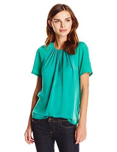 72550613 Lark & Ro Women's Short Sleeve Gathered Neck Top, Palm Green, Large Lark