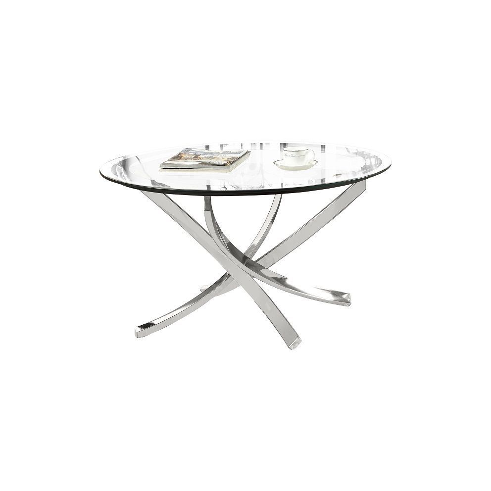 Small Modern Round Glass Top Coffee Table With Metal Wrought Iron