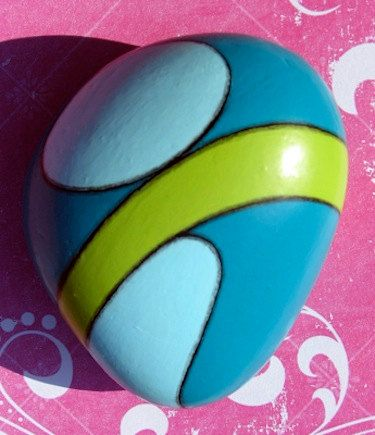 Painted Rock Turquoise and GreenGold by elementl on Etsy