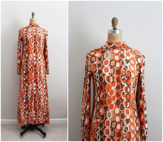 60s Mod Maxi Dress / Angel sleeves Dress / 1960s by PARASOLvintage