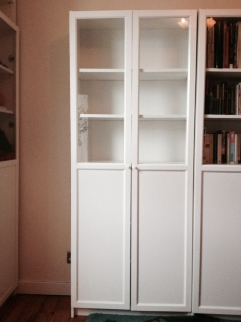One Ikea Billy Oxberg Bookcase Doors Panel At Bottom Glass At