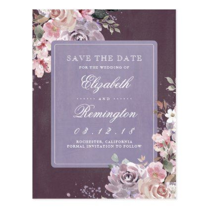 Mauve plum and lilac floral vintage save the date postcard cyo mauve plum and lilac floral vintage save the date postcard cyo customize design idea solutioingenieria Images