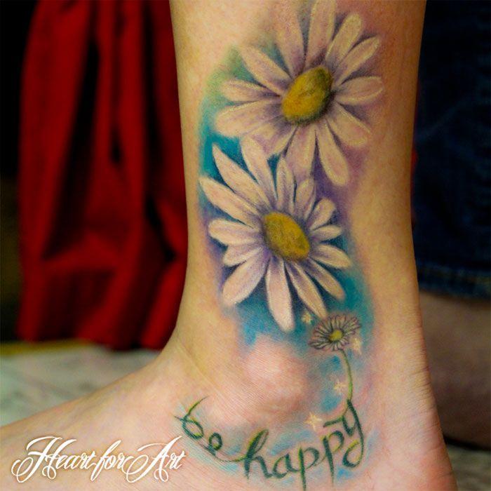 Celtic Daisy Tattoo: Watercolour Style Daisy Foot Tattoo