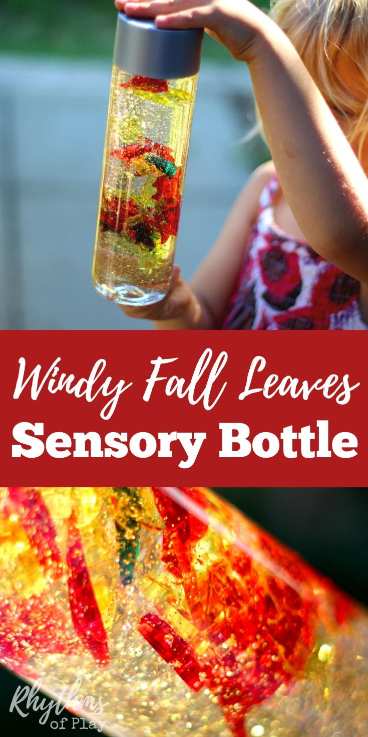 Windy Fall Leaves Sensory Bottle #fallcraftsforkidspreschool